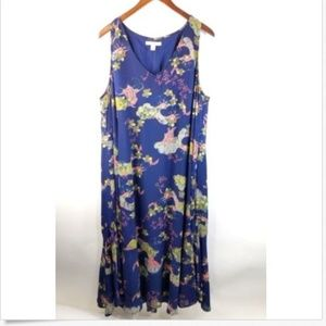 SEJOUR  Floral Boho Maxi Dress Sleeveless Lined